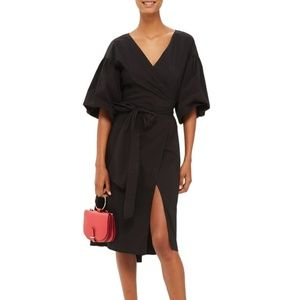 Topshop black balloon sleeve wrap dress
